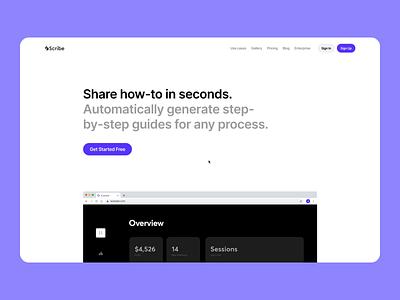 Scribehow.com website rebuild smart recorder guide web web design interaction animation motion design development perfomance website responsive graphics icons ux ui cuberto