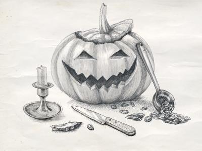 Are you ready? ) halloween sketch pumpkin