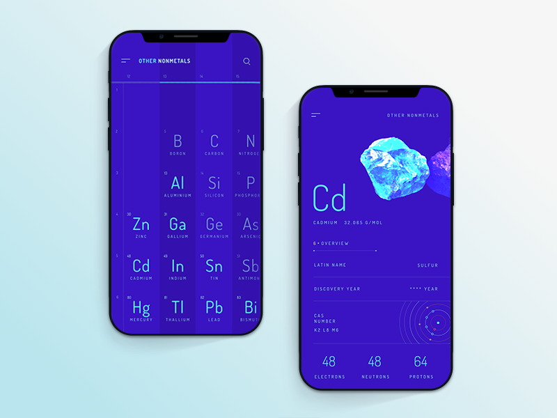 Periodic table app table iphone flat design cuberto app ios interface icons ux ui