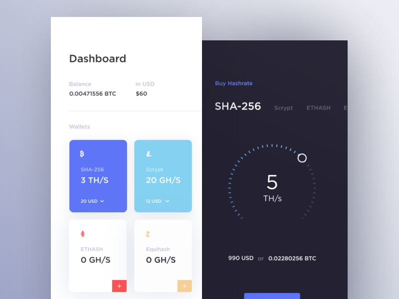 Cloud Mining UI dashboard bitcoin interface cryptocurrency cuberto mining cloud sketch icons ux ui