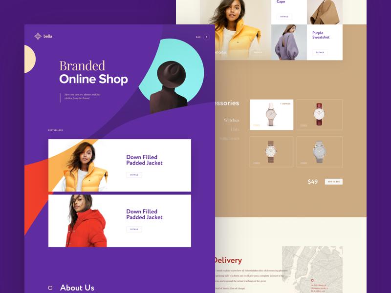 Bella E-commerce interface brand ecommerce online store web cuberto clothes landing shop icons ux ui