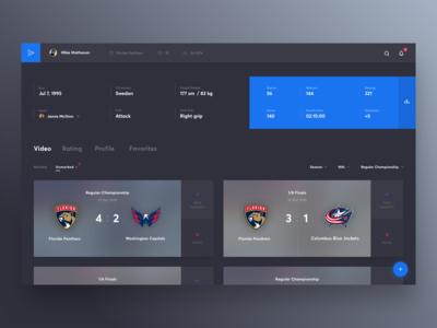 Yoursportagent Interface dark trainer scout club play agent hockey sport platform cuberto ux ui