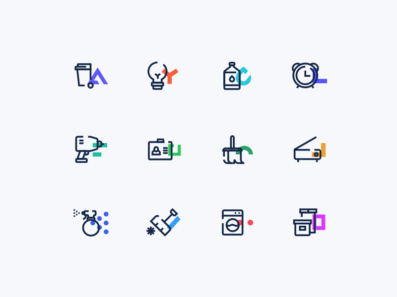 Service Icons computer food cleaning electrical graphics insurance service icons cuberto sketch illustration ui