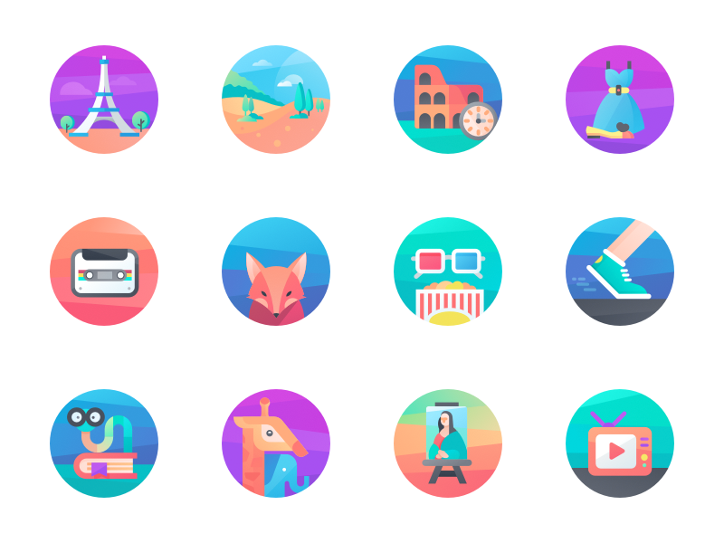 Category Icons flat style colors graphics vector cuberto illustration app sketch icons ux ui