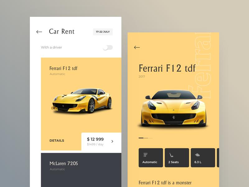 Car Rental UI hotel rent yellow cuberto car app sketch icons ux ui