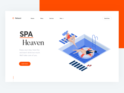SPA procedures UI swim relax heaven services hotel spa web cuberto sketch illustration ux ui
