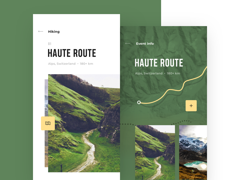 Hiking app design info travel photo route cuberto hiking app sketch icons ux ui