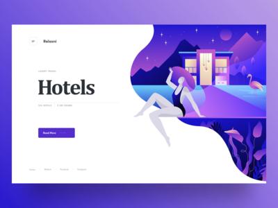 Placeholder landing page bright woman static graphics web cuberto illustration landing sketch hotels ux ui