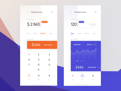 Cloud Mining Calculator Interface finance ecommerce cryptocurrency calculator mining cuberto cloud app sketch icons ux ui
