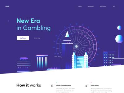 ICO Landing Page for Gambling city casino gambling graphics web cuberto illustration landing sketch icons ux ui