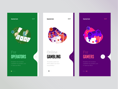 Onboarding for gambling app game operator graphics gambling cuberto illustration onboarding sketch icons ux ui