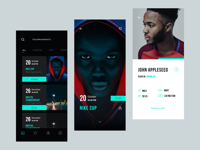 SetPlay app UI menu serach graphics tournament ios app photo design football ux ui