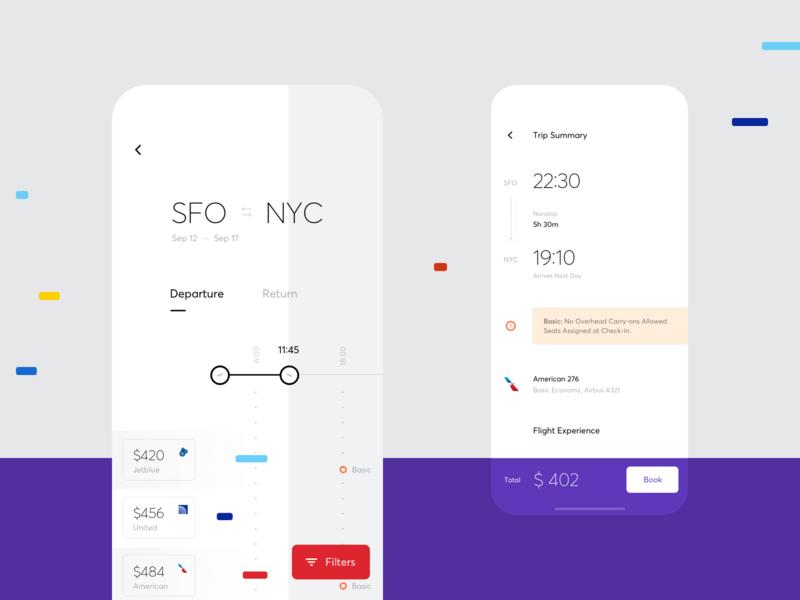 Minimalistic Flight UI flat ios iphone interface minimalist flight booking city departure flight app ux ui cuberto