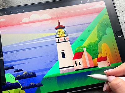 Lighthouse Illustration iPad Pro icons graphics lightgouse drawing paint ipadpro app illustration ux ui cuberto