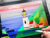 Lighthouse Illustration iPad Pro