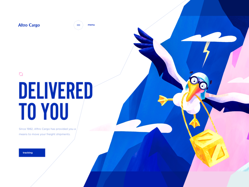 Web Design for a Large-scale Cargo Deliverables sketch ipadpro cargo deliverable landing web graphics albatross illustration ux ui cuberto