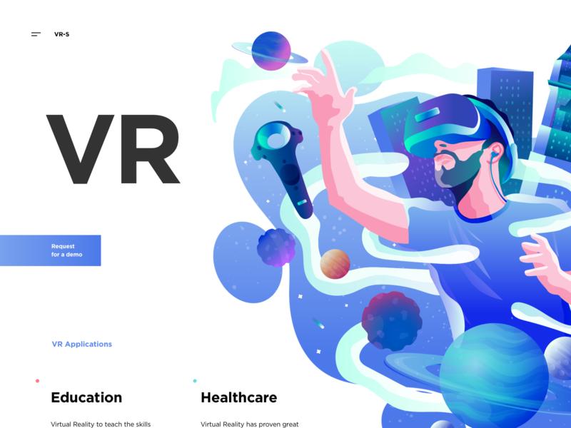 VR Illustration site web technology vr landing vector sketch graphics illustration ux ui cuberto
