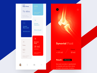 Health Tracker interface injury articulation dashboard fluid synovial ios healthcare health illustration icons ux ui cuberto
