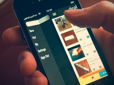 UX/iOS/UI iPhone idea with video process ui icons interface cuberto ios iphone app fold folding xcode buttons toolbar development side menu