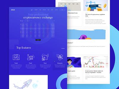 DSX Corporate Site re-design re-brand exchange crypto website css development landing refresh corporate graphics illustration ux ui cuberto