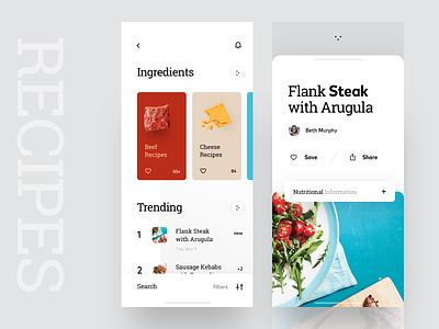 Cookbook App Interface illustration ios food eat graphics cooking intgredient recipes cookbook cook ux ui cuberto