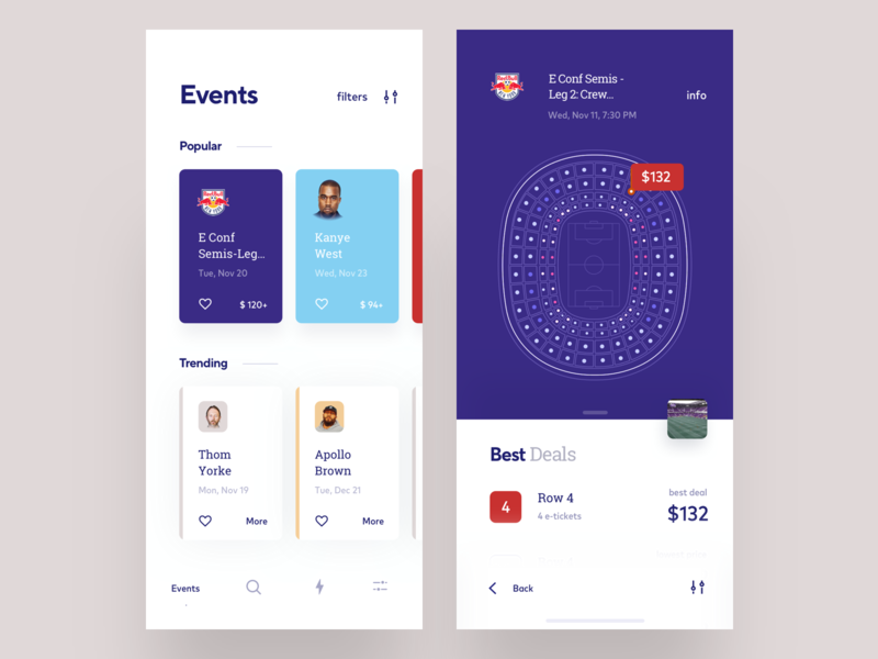 Events app concept with booking feature filter payment ticket booking purple concept app illustration trending popular football events ux ui cuberto