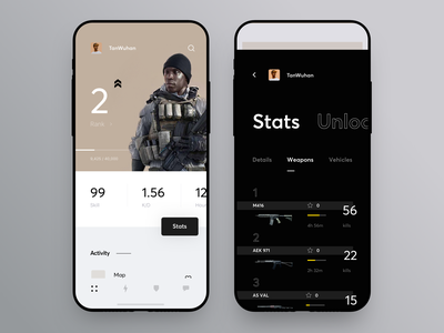 Game and Profile Statistics Dashboard icon design shooter gamer concept app statistics stats profile game ux ui cuberto
