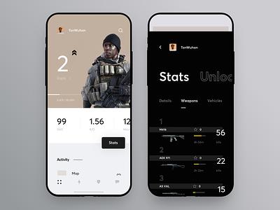 Game and Profile Statistics Dashboard icon design shooter gamer concept app statistics stats profile game ux ui cuberto