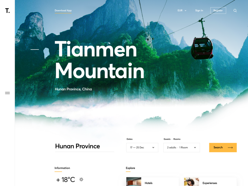 Mountain Excursions graphics typography landing page relax excursion trip booking cable car mountain ux ui cuberto