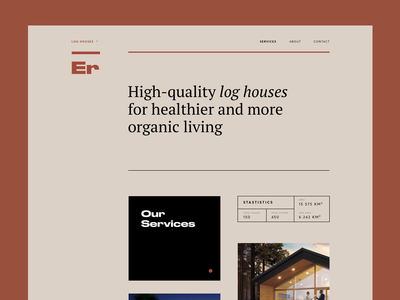 Architectural Style House Landing Page service font typography web landing simple strick style house architechture graphics ux ui cuberto