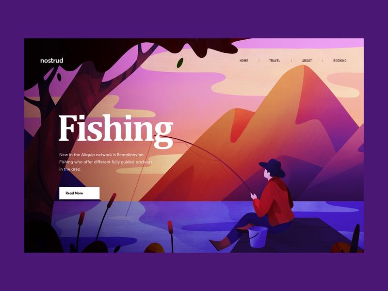 Scandinavian Fishing Website fish mountain scandinavia fishing landing website graphics illustration typography ux ui cuberto