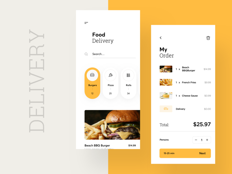 Food Delivery App icon interface search concept app graphics delivery list cart burger food button ux ui cuberto
