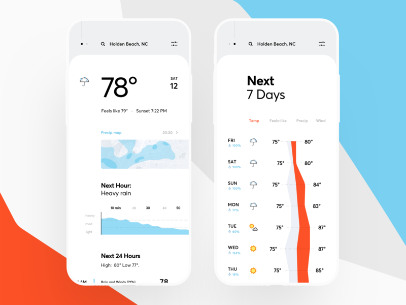 Weather App Redesign graphics vector illustration interface day calendar rain sun app weather icons ux ui cuberto