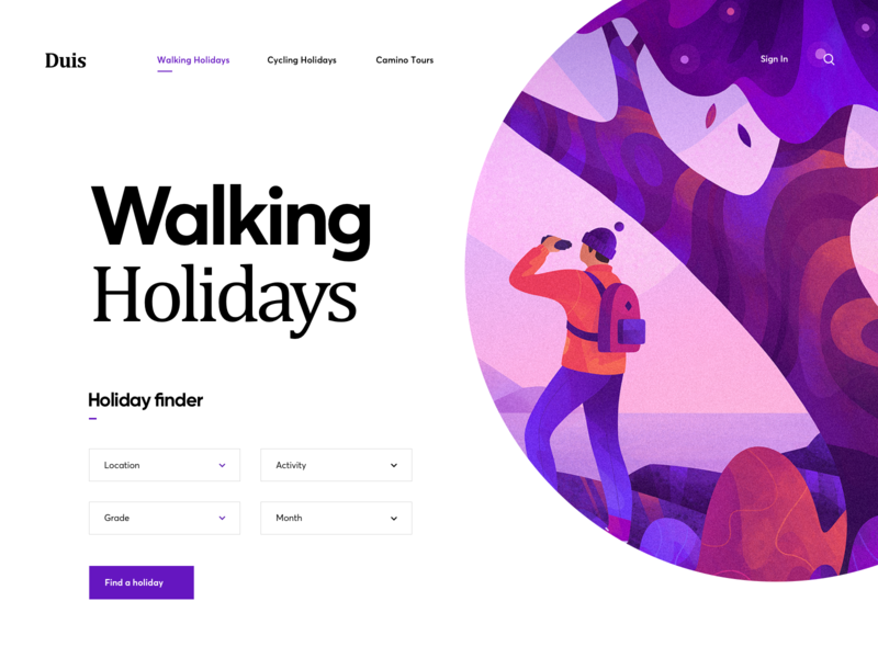 Walking Holidays Website step travel walking landing page web holiday walk graphics illustration ux ui cuberto