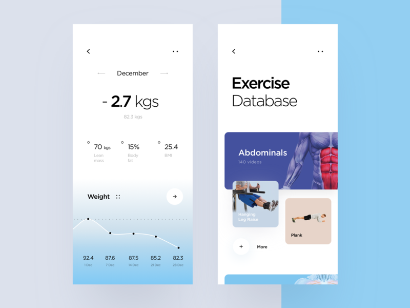 Home Physical Training App graph analitycs interface body diet exercise home app physical training icons ux ui cuberto