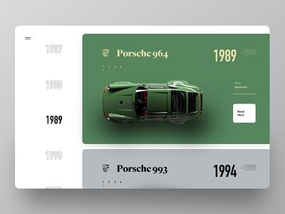 Web UI Encyclopedia Sport Cars year model rarity card encyclopedia web car sport illustration graphics ux ui cuberto