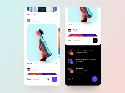 Fresh UI design for a Social App usability photo filter chat categories feed popular network social ios app graphics icons ux ui cuberto