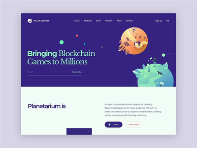 Planetarium Landing Page Interaction style design css development motion interaction animation space planets illustration graphics ux ui cuberto