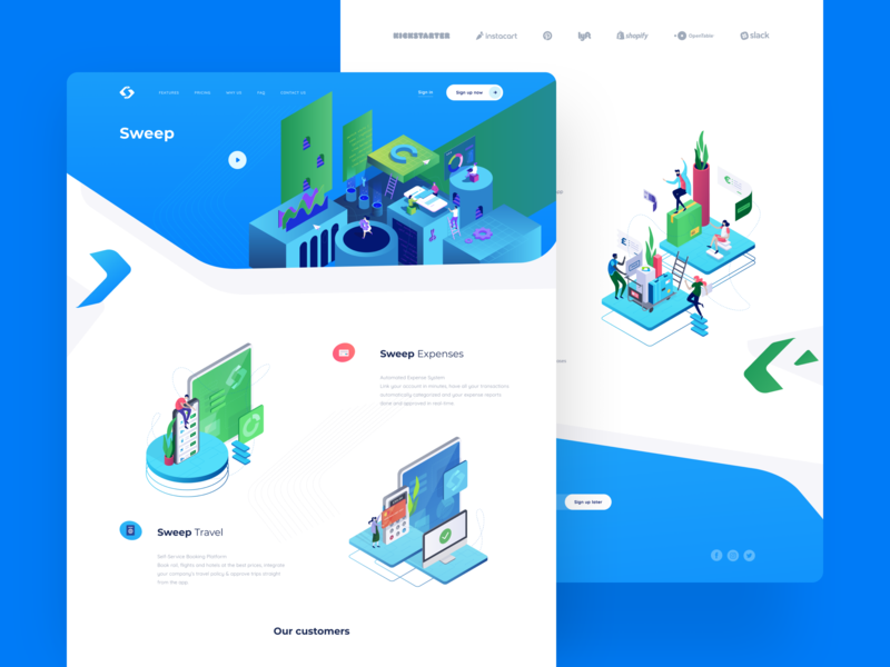 Sweep Travel Self-Service Platform benefits platform payment app loyalty booking travel website illustration graphics ux ui cuberto