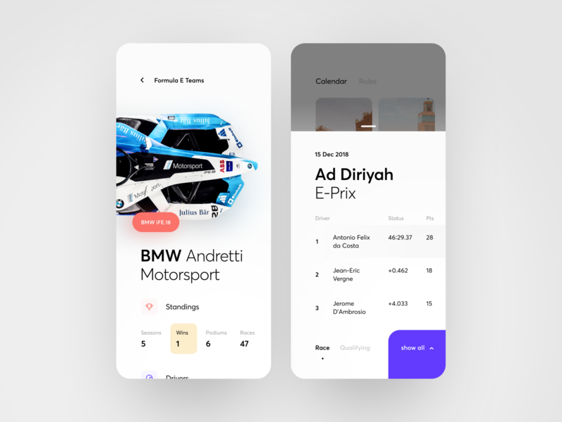 Formula E app concept design app figma ios race season rating speed sport team formula e car graphics ux ui cuberto