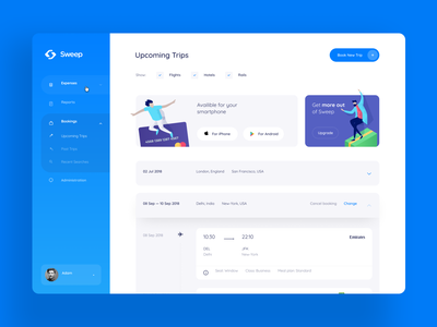 Sweep Travel System blue trip order booking internal interface admin panel upcoming travel illustration graphics icons ux ui cuberto