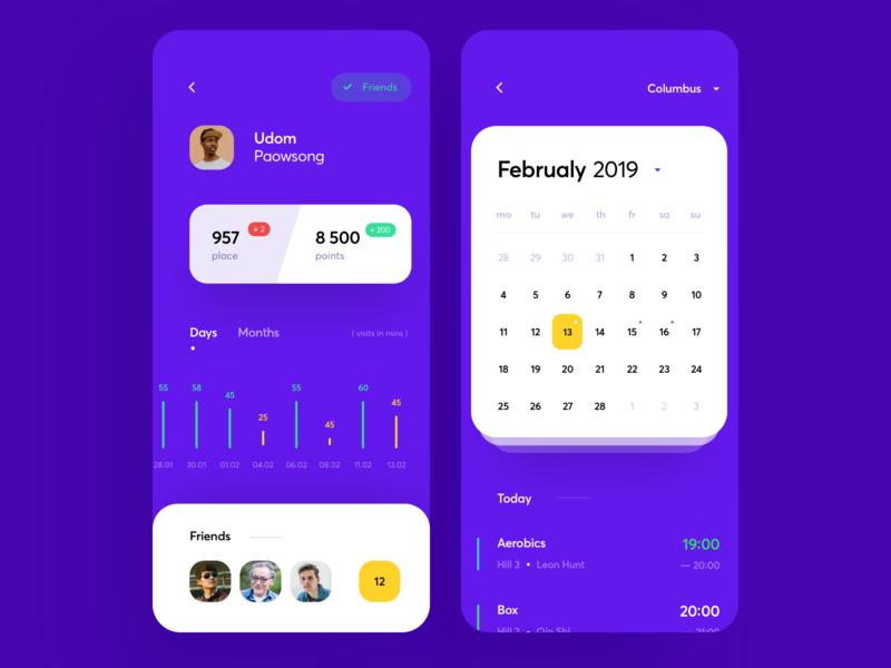 Fitness Club Statistics App sport day design interface shedule calendar statistics club fintess app graphics icons ux ui cuberto