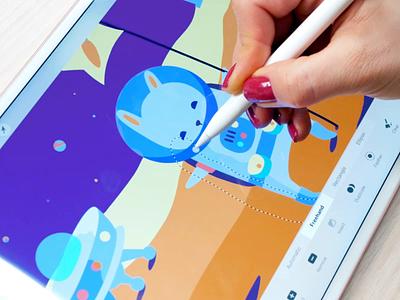 Planetarium Illustration Process video pencil planet space vector process ipad pro drawing illustration graphics icons ux ui cuberto