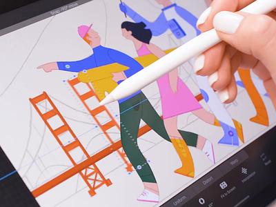 Heading to launch SF office ) vector art drawing san francisco pencil procreate ipadpro video design illustration graphics ux ui cuberto