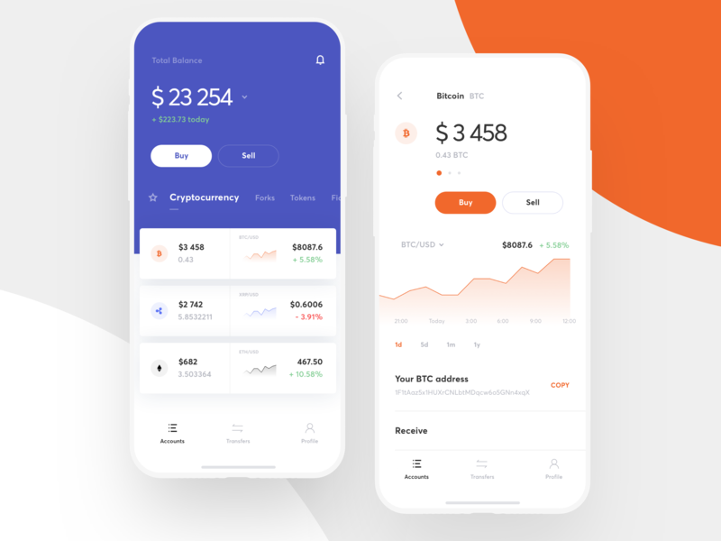 Multicurrency wallet UI mobile bitcoin account ios payment transfer trading finance banking design interface currency wallet graphics app icons ux ui cuberto
