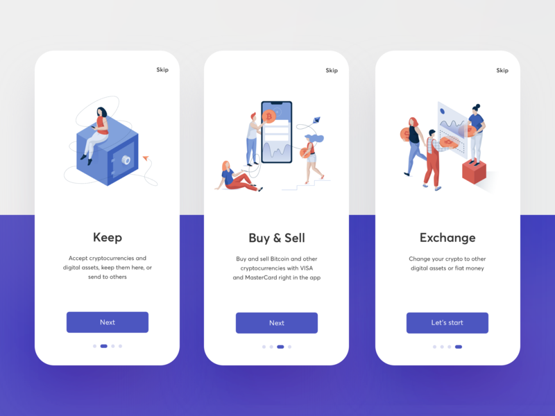 Onboarding Exchange App mobile mockup vector ipad pro exchange wallet currency sell buy onboarding illustration graphics app icons ux ui cuberto