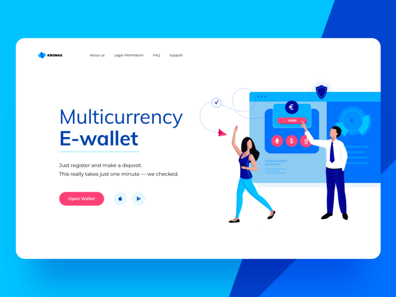 Kronax Start Page page deposit card trading crypto wallet illustration currency multi site web icons ux ui cuberto