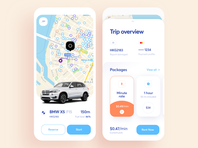 Car Sharing App Redesign mobile mobility one-way roundtrip auto map ride share car ios design graphics app ux ui cuberto