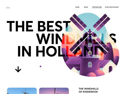 Hollands Windmills Tours catalog view holland best procreate ipad pro valley website tour windmill landing page illustration graphics app ux ui cuberto