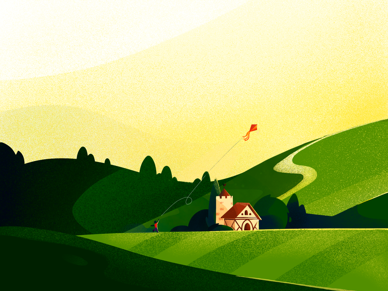 Valley Illustration kite villa green colors procreate ipad pro vector valley art sketch design illustration graphics ux ui cuberto